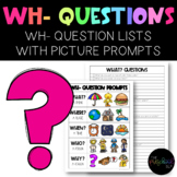 Speech: WH- Questions Quick Pack 225 Questions w/ Visual Prompt and Data Form