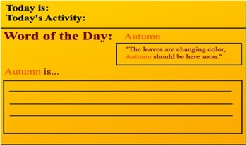 Speech Warm Up (Elementary) - Word: Autumn