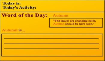 Speech Warm Up (Elementary) - Word: Autumn
