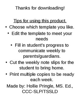 Speech Weekly Parent Communication Notes