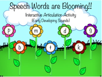 Speech Words are Blooming! Interactive activity- early dev