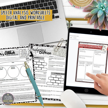 Speech Worksheets Analysis & Comprehension Graphic Organizers for Any Speech