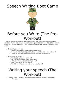 Speech Writing Boot Camp