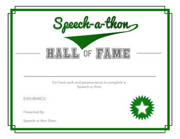 Speech-a-thon Certificate
