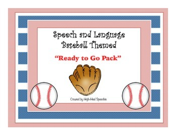 """Speech and Language Baseball Themed """"Ready To Go Pack"""""""