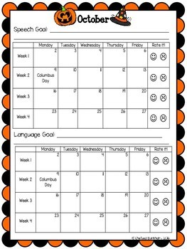 Speech, Language and Articulation Goal Tracking Scoreboards