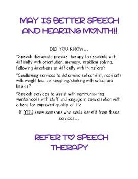 Speech and Hearing Month handout