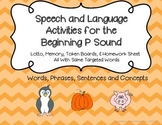 Articulation and Language Activities for the Beginning P Sound