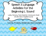 Articulation and Language Activities for the Beginning L Sound