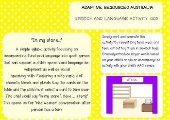 "Speech and Language Activity ~ ""In my store..."""