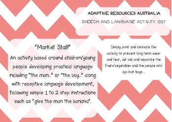 Speech and Language Activity  ~ Market Stall
