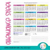 Speech and Language Attendance Sheet (Free)