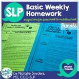 Speech and Language Basic Homework - 10 Weeks - Spanish &