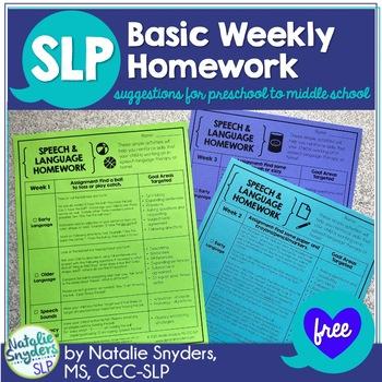 Speech and Language - Basic Homework - 3 Week FREEBIE