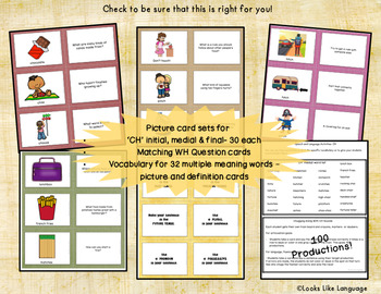 CH Articulation & Language Games: 115 Picture Cards & WH Questions