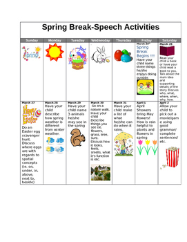Speech and Language Calendar