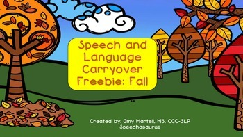 Speech and Language Carryover Activities: Fall