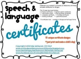 Speech and Language Certificates | Pack 1