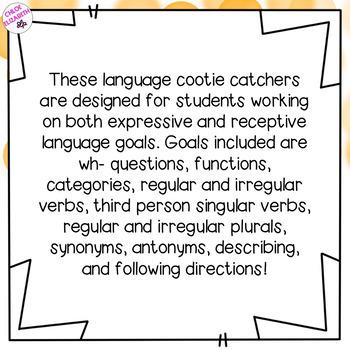 Speech and Language Cootie Catchers! - Language