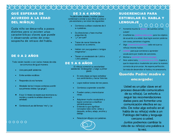 Speech and Language Development Brochure for Parents (In Spanish)