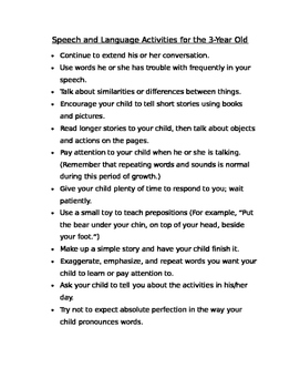 Speech and Language Development Handout for Parents of 3 year old