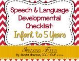 Speech & Language Dev Checklist: Infant to 5 Years
