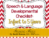 Speech & Language Dev Checklist: Infant to 5 Years