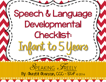Speech & Language Developmental Checklist: Infant to 5 Years
