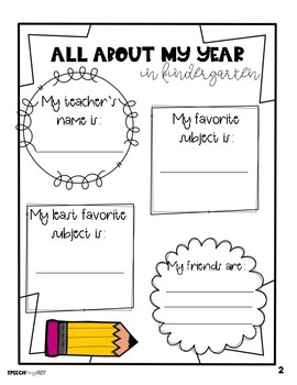 Speech And Language Yearbook- End of the Year Activity