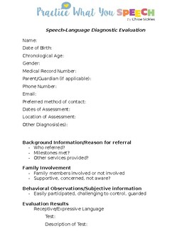 Speech and Language Evaluation Template (SLP)