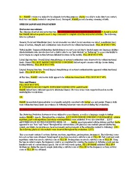 Speech Language Evaluation Templates for Report Writing- GROWING BUNDLE