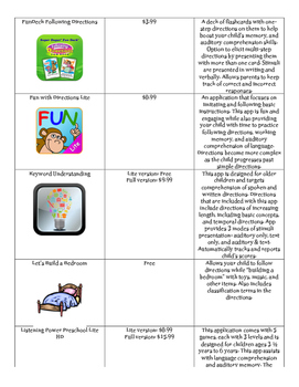 Speech and Language--Free & Affordable Home Program Receptive Language Apps