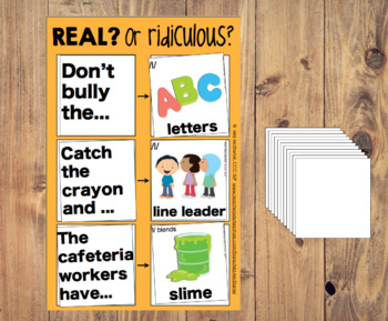 Speech and Language Game: Real OR Ridiculous? {School Edition!}