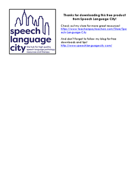 Speech and Language Goals Page