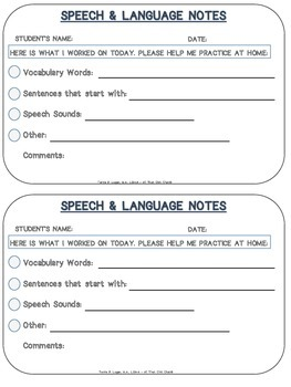 Speech and Language Home Practice Notes - FREEBIE