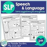 Speech and Language Home Suggestions for Emergencies for SLPs FREEBIE