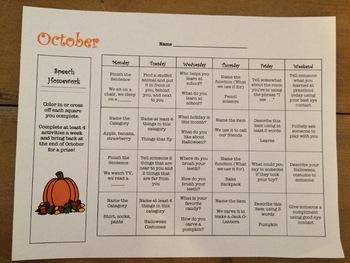 Speech and Language Homework Calendar