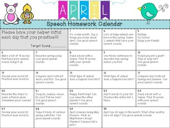 Speech and Language Homework Calendars APRIL