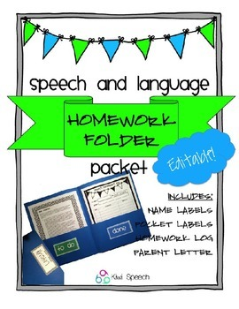 Speech and Language Homework Folder Packet - EDITABLE Version