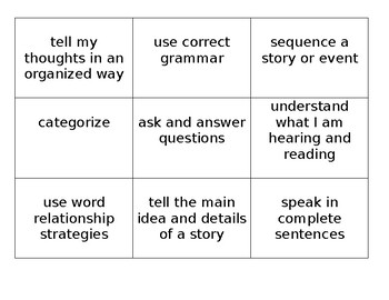"""Speech and Language """"I Can"""" Statements Poster"""