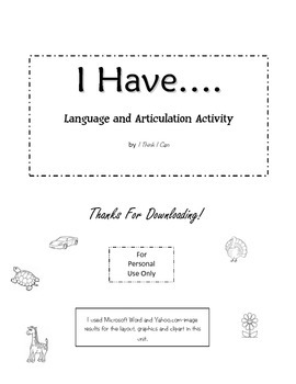 "Speech and Language ""I Have....."" Printable"