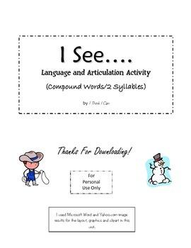 "Speech and Language ""I See...."" Printable"