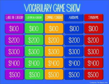 Vocabulary Game Show With QR Codes