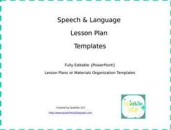Speech and Language Lesson Plan Templates