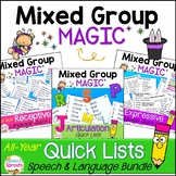 Quick List Bundle for easy speech therapy group activities