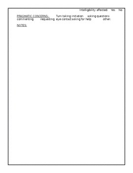 Speech and Language Observation Form