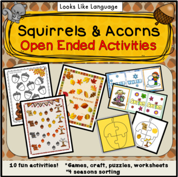 Open Ended Fall Games & Activities: Squirrels & Acorns