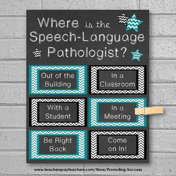 Where is the Speech Language Pathologist Sign Teal and Black
