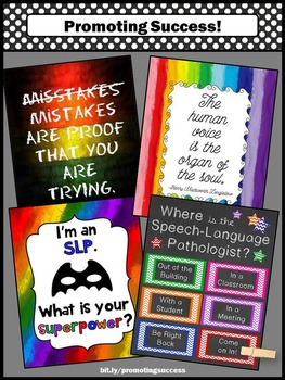 Where is the Speech Language Pathologist Sign Colorful SLP Posters SET