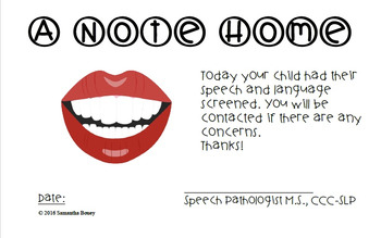 Speech and Language Screener Note Home